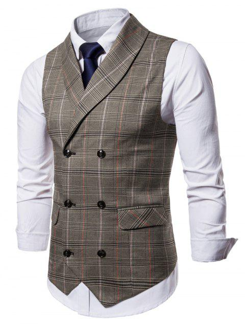 Shawl Collar Checked Double Breasted Waistcoat - COFFEE M
