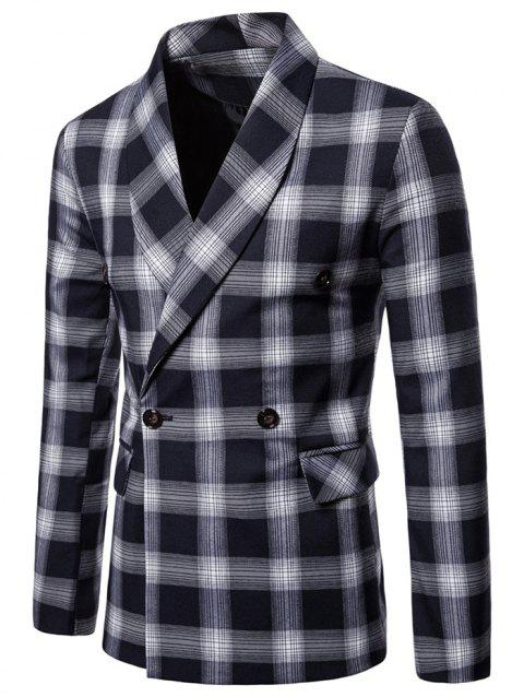 Shawl Collar Double Breasted Checked Blazer - CADETBLUE L
