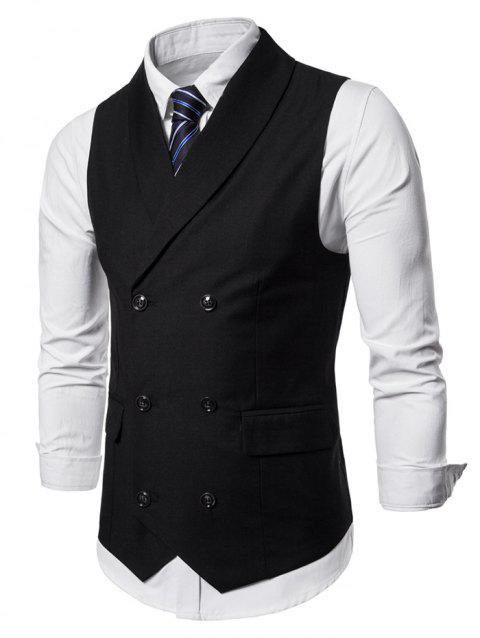 Double Breasted Shawl Collar Solid Color Waistcoat - BLACK M