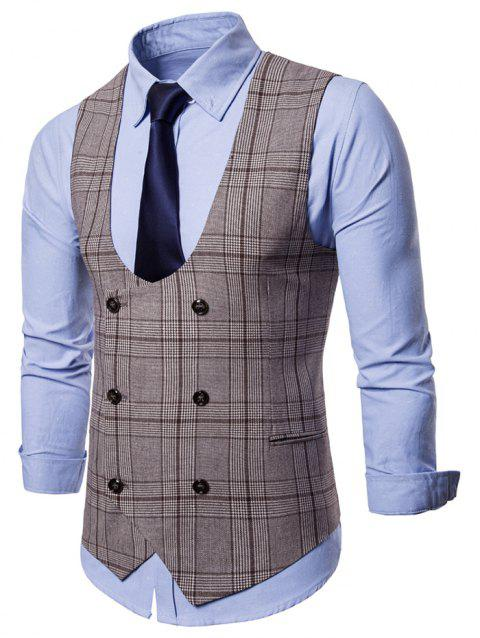 Double Breasted Plaid U Neck Waistcoat - COFFEE 2XL