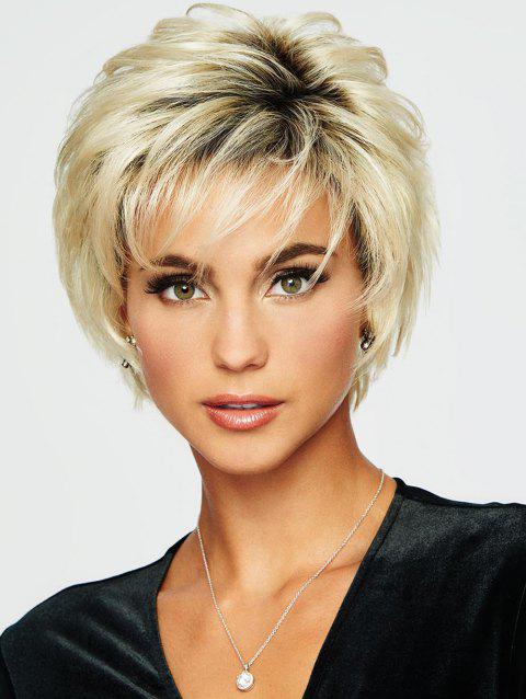 Oblique Bang Short Natural Straight Colormix Synthetic Wig - multicolor