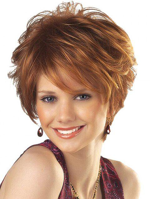 Inclined Bang Short Layered Straight Synthetic Wig - BROWN
