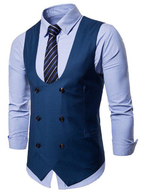 Solid Color Double Breasted U Neck Waistcoat - BLUE XL