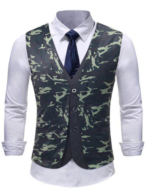 Camouflage Print Fake Two Pieces Waistcoat - multicolor M