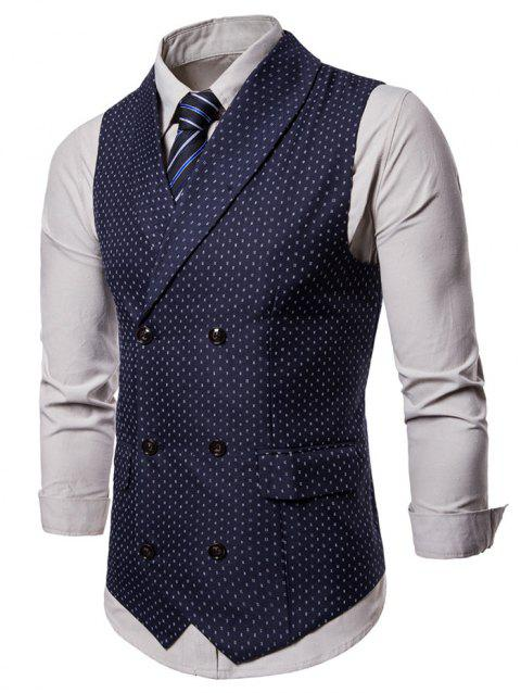 Double Breasted Back Belt Printed Waistcoat - CADETBLUE L