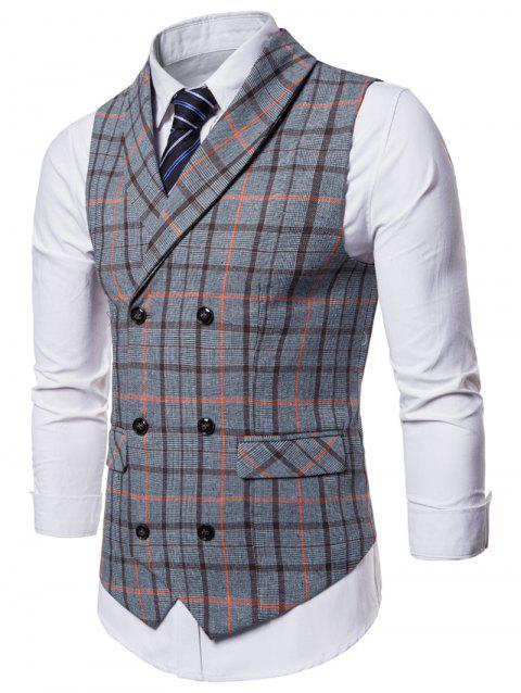Flap Pockets Double Breasted Plaid Waistcoat - BLUE GRAY L