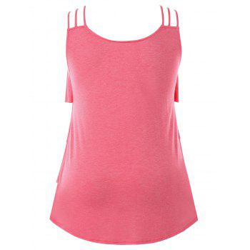 Plus Size Embroidery Layered Ruffle Tank Top - WATERMELON PINK 4X