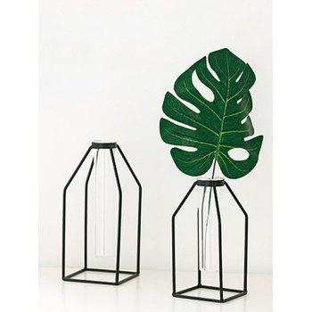 Home Decor Iron Geometric Flower Vase Holder Rack - BLACK