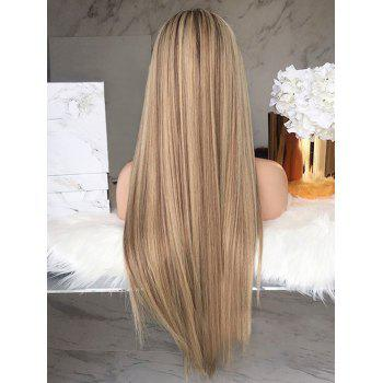 Long Center Parting Straight Party Capless Synthetic Wig - multicolor