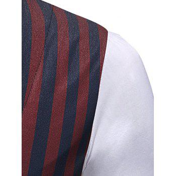 Single Breasted Striped Fake Two Pieces Waistcoat - multicolor XL