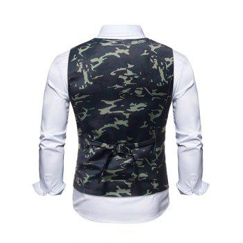 Camouflage Print Fake Two Pieces Waistcoat - multicolor XS