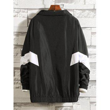 Stand Collar Embroidery Letter Stripe Jacket - BLACK L