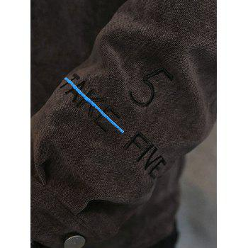 Turn Down Collar Embroidery Letter Coat - COFFEE 2XL