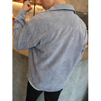 Turn Down Collar Embroidery Letter Coat - LIGHT GRAY XL