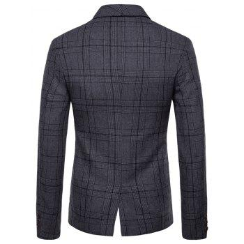 Plaid Shawl Collar Double Breasted Blazer - DARK GRAY M