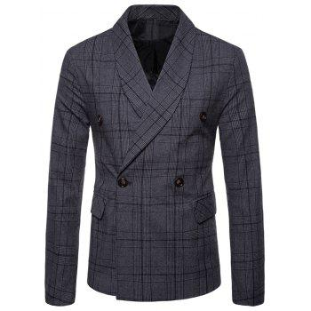 Plaid Shawl Collar Double Breasted Blazer - DARK GRAY 2XL