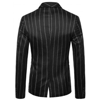 Shawl Collar Stripe Print Double Buttons Blazer - BLACK M