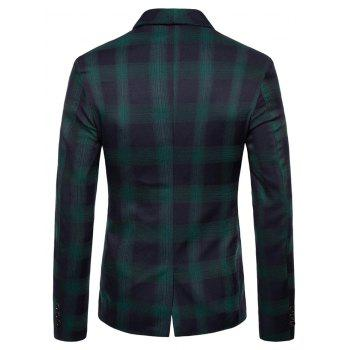 Shawl Collar Double Breasted Check Blazer - DEEP GREEN XL