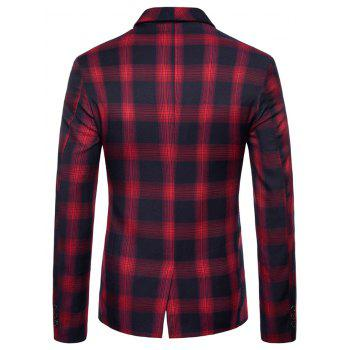 Shawl Collar Double Breasted Check Blazer - RED L