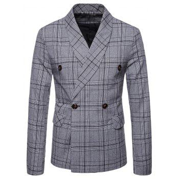 Plaid Shawl Collar Double Breasted Blazer - LIGHT GRAY XL