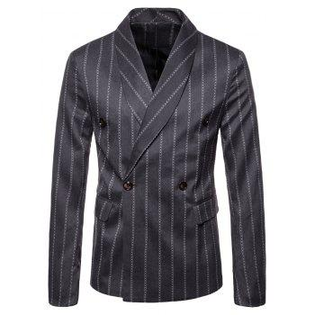 Shawl Collar Stripe Print Double Buttons Blazer - DARK GRAY 3XL