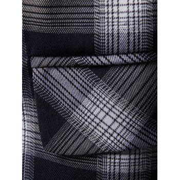 Shawl Collar Double Breasted Check Blazer - CADETBLUE XL