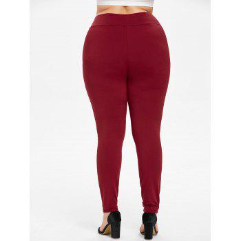 Plus Size Striped Side Leggings - RED WINE 4X