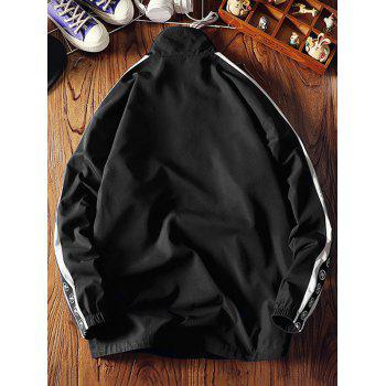 Stand Collar Stripe Embroidery Letter Jacket - BLACK M