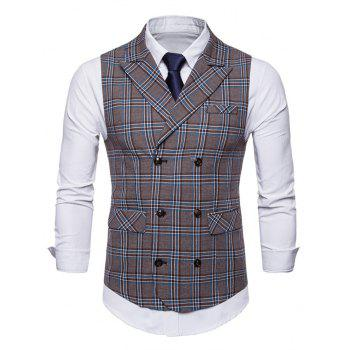 Double Breasted Lapel Collar Plaid Waistcoat - BLUE GRAY L