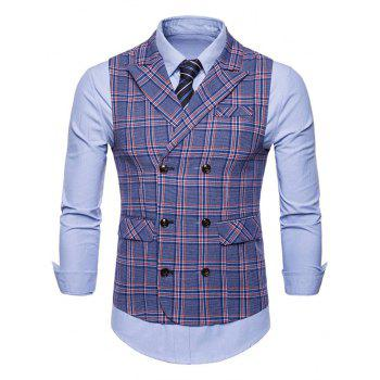 Double Breasted Lapel Collar Plaid Waistcoat - BLUE 2XL
