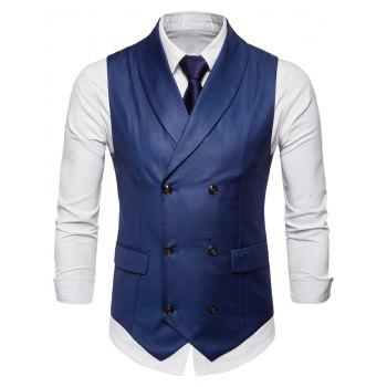 Double Breasted Shawl Collar Solid Color Waistcoat - BLUE 2XL