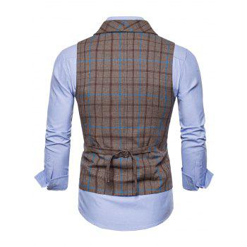 Flap Pockets Double Breasted Plaid Waistcoat - COFFEE XL