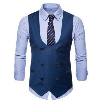 Solid Color Double Breasted U Neck Waistcoat - BLUE L