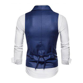 Double Breasted Shawl Collar Solid Color Waistcoat - BLUE M