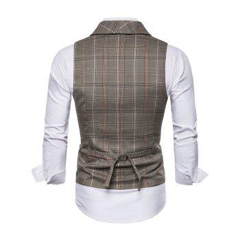 Shawl Collar Check Double Breasted Waistcoat - COFFEE M