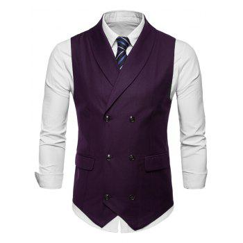 Double Breasted Shawl Collar Solid Color Waistcoat - MEDIUM VIOLET RED L