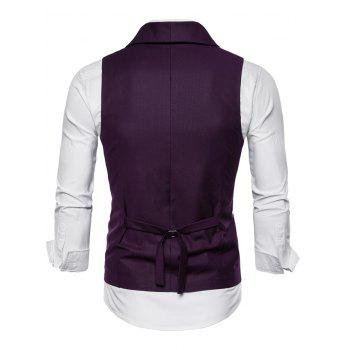 Double Breasted Shawl Collar Solid Color Waistcoat - MEDIUM VIOLET RED XL