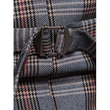 Shawl Collar Check Double Breasted Waistcoat - GRAY 2XL