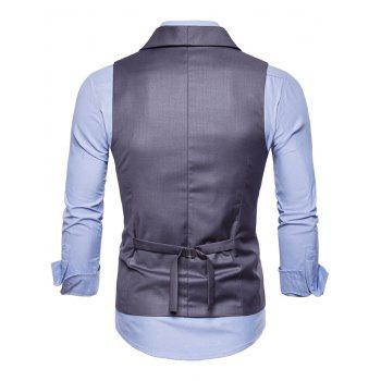 Double Breasted Shawl Collar Solid Color Waistcoat - GRAY 2XL