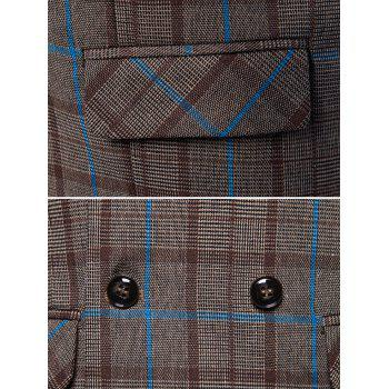 Flap Pockets Double Breasted Plaid Waistcoat - COFFEE 2XL