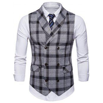 Plaid Shawl Collar Double Breasted Waistcoat - BLACK L