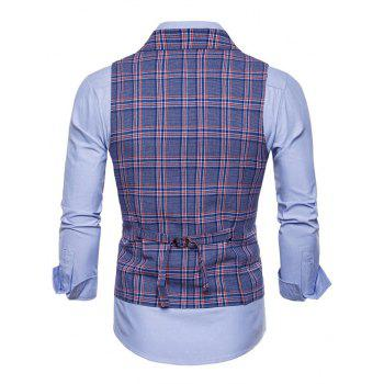 Double Breasted Lapel Collar Plaid Waistcoat - BLUE XL