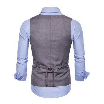 Solid Color Double Breasted U Neck Waistcoat - GRAY 2XL