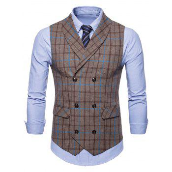 Flap Pockets Double Breasted Plaid Waistcoat - COFFEE M