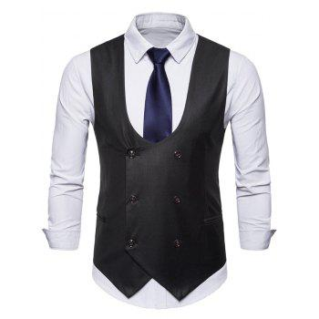 Solid Color Double Breasted U Neck Waistcoat - BLACK XL