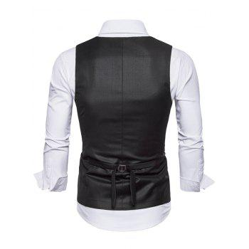 Solid Color Double Breasted U Neck Waistcoat - BLACK L