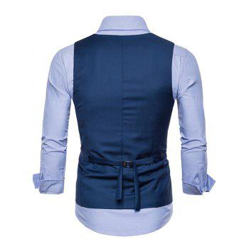 Solid Color Double Breasted U Neck Waistcoat - BLUE M