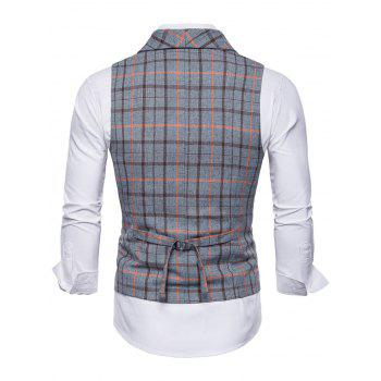 Flap Pockets Double Breasted Plaid Waistcoat - BLUE GRAY XL