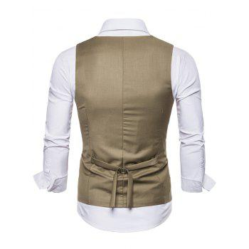 Solid Color Double Breasted U Neck Waistcoat - LIGHT KHAKI 2XL