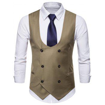Solid Color Double Breasted U Neck Waistcoat - LIGHT KHAKI L